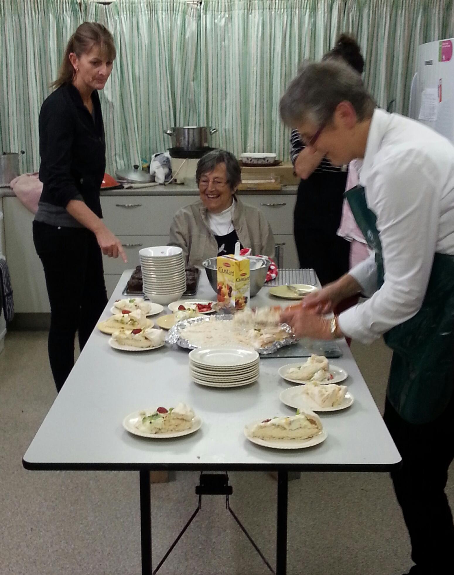 Lesley superviisng the kitchen