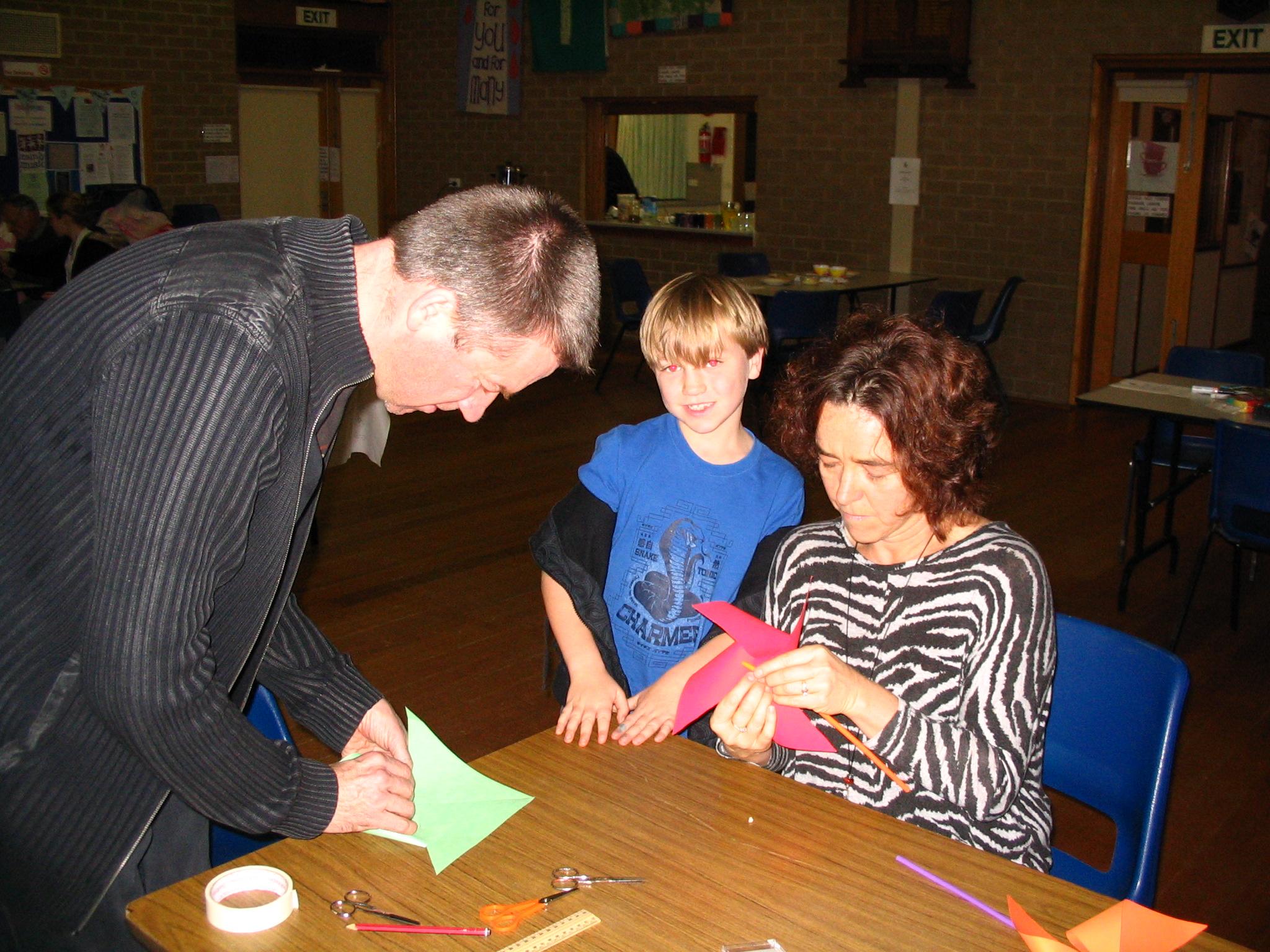 jonathon, Dom & Mary making pin-wheels